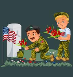 memorial day background american veterans lay vector image