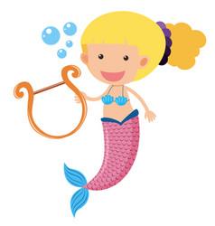 Mermaid playing music underwater vector
