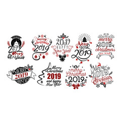 merry christmas and happy new year 2019 lettering vector image