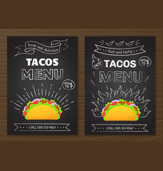 mexican cuisine fastfood tacos menu template vector image