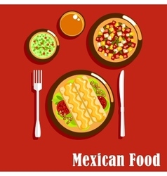 Mexican cuisine with enchiladas and sauces vector image