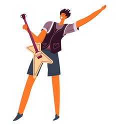 musician playing electric guitar professional vector image