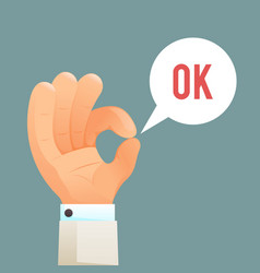 ok hand sign gesture icon cartoon design template vector image