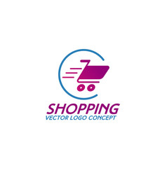 On line shopping logo consisting of shopping cart vector
