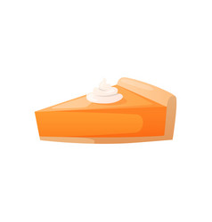 piece orange colored cheesecake pie with cream vector image
