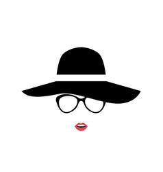 Portrait of lady in stylish hat and glasses women vector