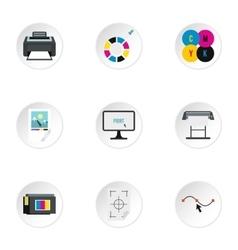 Printer icons set flat style vector