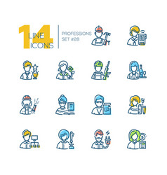 Professions - set of line design style icons vector