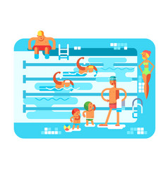 Public swimming pool vector
