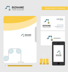pulley business logo file cover visiting card and vector image