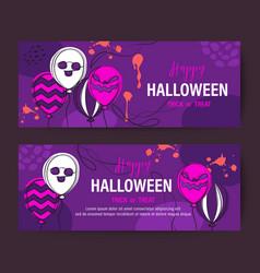purple halloween holiday banner design vector image