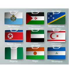 realistic set of flags of paper of countries with vector image