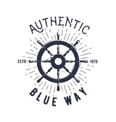 Retro nautical label with steering wheel sunburst vector