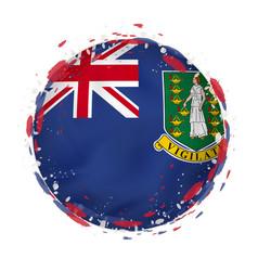 Round grunge flag british virgin islands vector