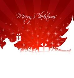 Santa Claus bringing gifts to the tree vector