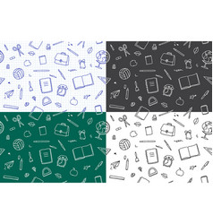 seamless patterns school elements set vector image