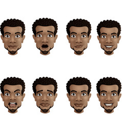set male facial emotions black african america vector image