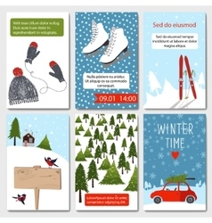 Set of 6 lovely winter cards templates vector image