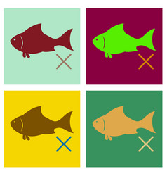 Set of flat fish drawing seafood great for menu vector