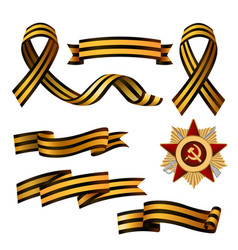 Set of saint george ribbons and order of red star vector