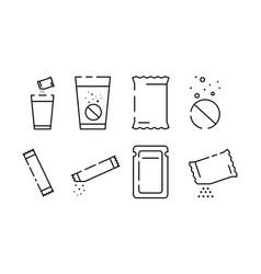 Set sachet line icons on white background vector