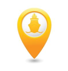 Ship icon yellow map pointer vector