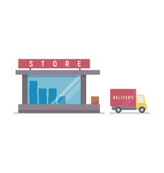 Shop and delivery service vector