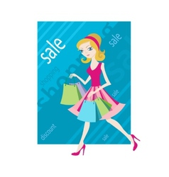 Shopping sale girl woman goes and showing shopping vector