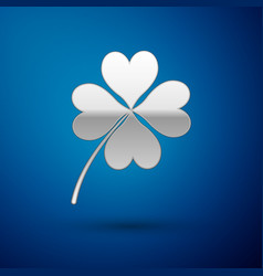 silver four leaf clover icon isolated on blue vector image