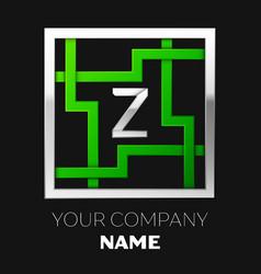 silver letter z logo symbol in the square maze vector image