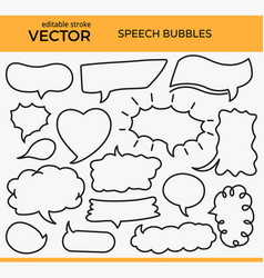 Sketched speech bubbles with editable stroke vector