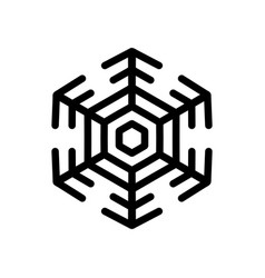 snowflake black on white isolated vector image