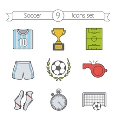 Soccer color icons set vector