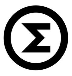 Sum symbol icon black color in round circle vector