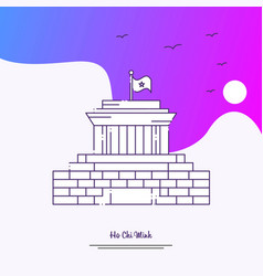 Travel ho chi minh poster template purple vector
