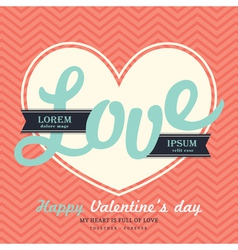Valentines Day Invitation card template LOVE word vector image