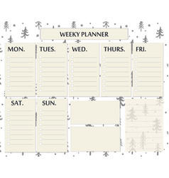 weekly planner page template design for christmas vector image