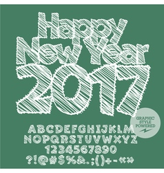 White drawn Happy New Year 2017 greeting card vector