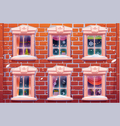 Windows with christmas and new year decoration vector
