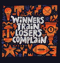 Winners train lettering vector
