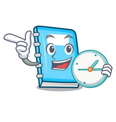 with clock education character cartoon style vector image