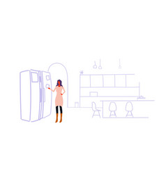 woman glueing empty paper sheet on refrigerator vector image