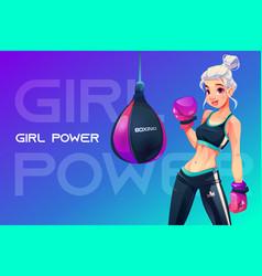 woman in boxing gloves posing at punching bag vector image