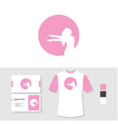 woman logo design with business card and t shirt vector image