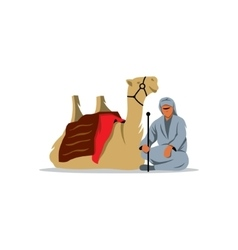 Bedouin and camel sign vector image