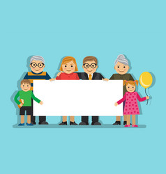 big family with a poster vector image vector image