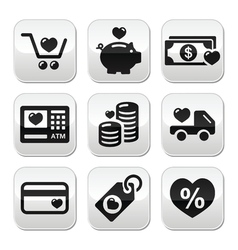I love shopping I love money buttons set vector image