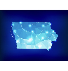 Iowa state map polygonal with spotlights places vector image