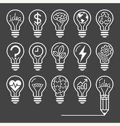 Light bulb concept line icons style vector image