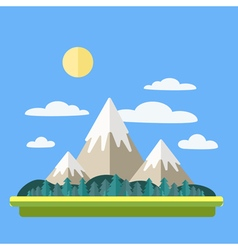 Mountains Landscape with Clouds and Forest vector image